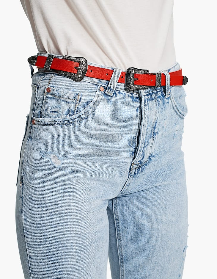 Cowboy-style belt with double buckle