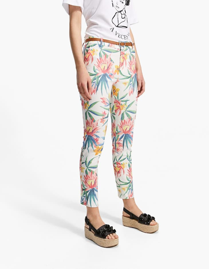 Smart tropical printed trousers with belt