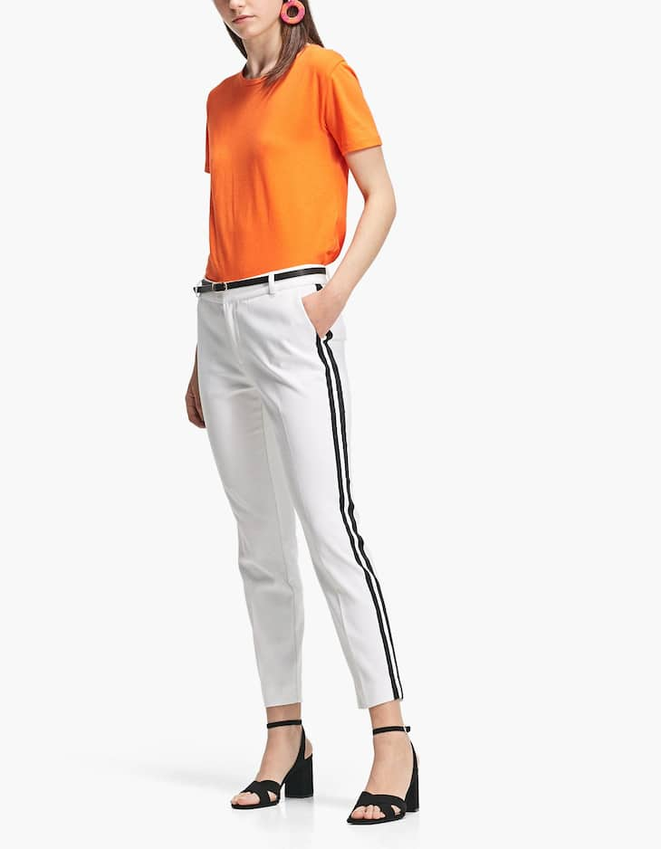 Smart trousers with belt and side stripes