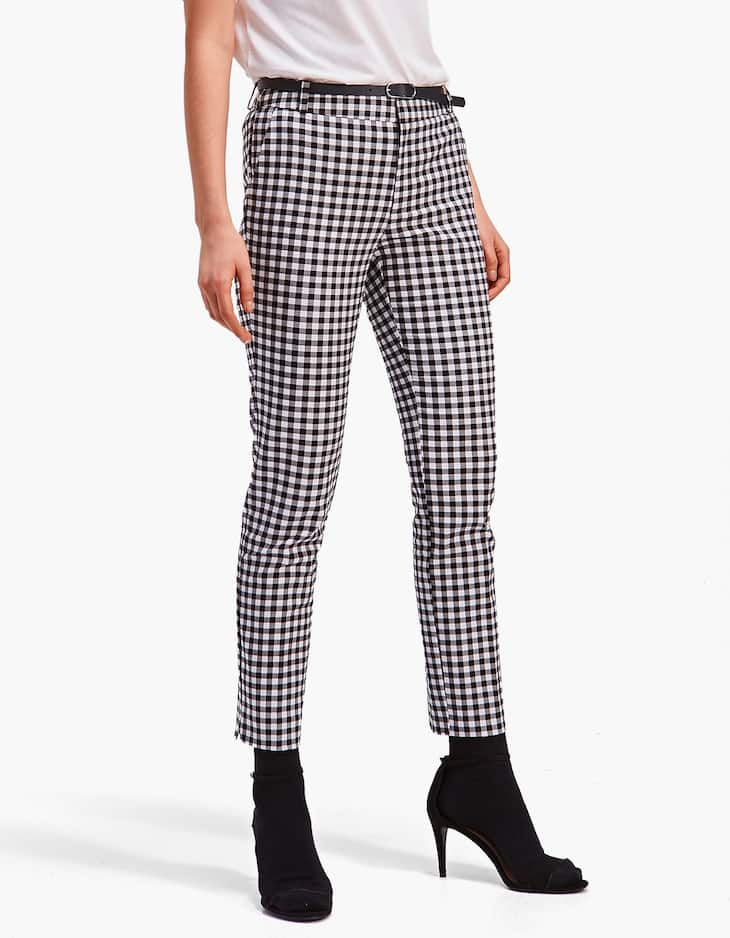 Gingham smart trousers with belt