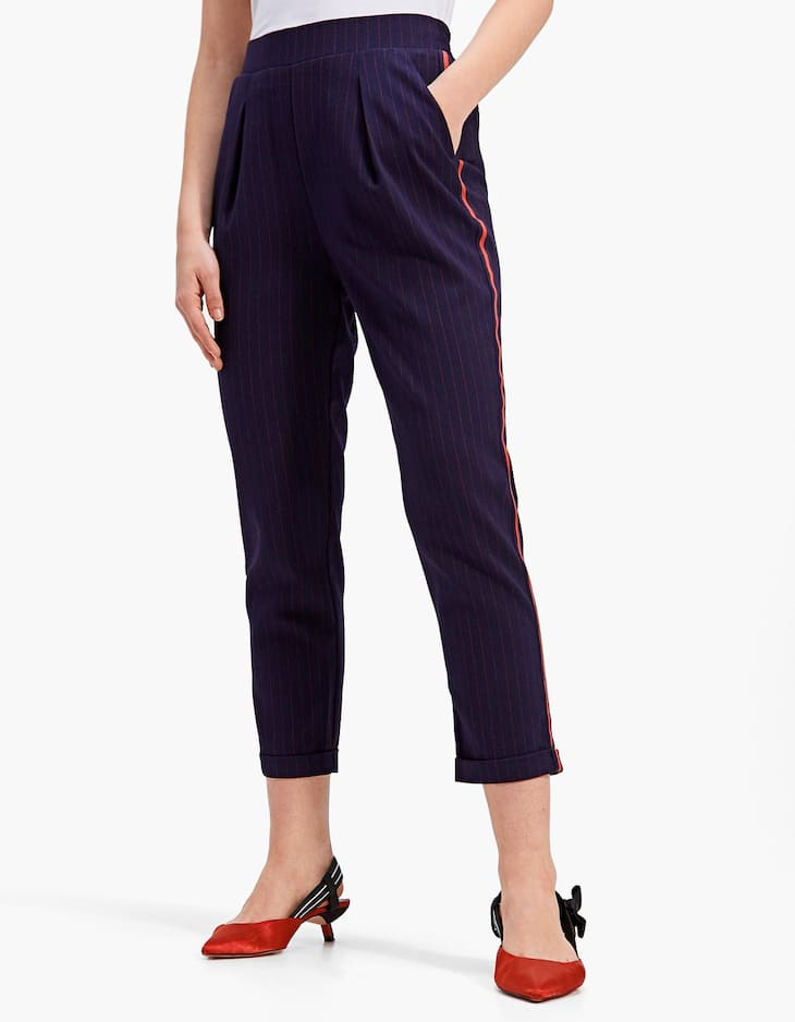 Carrot fit jacquard trousers with side stripe detail