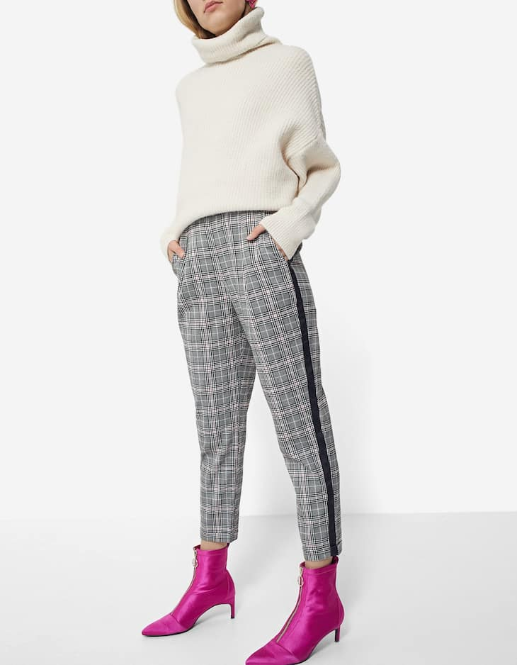 Checked carrot fit jacquard trousers with side stripe detail