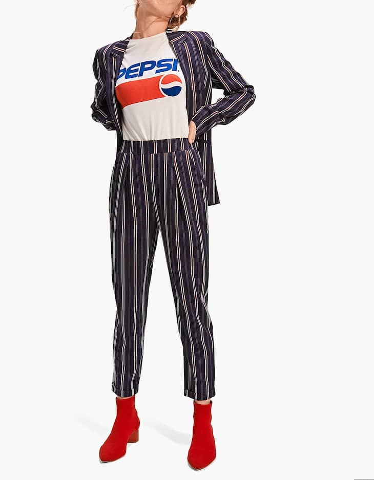Carrot fit trousers with fabric stripe detail