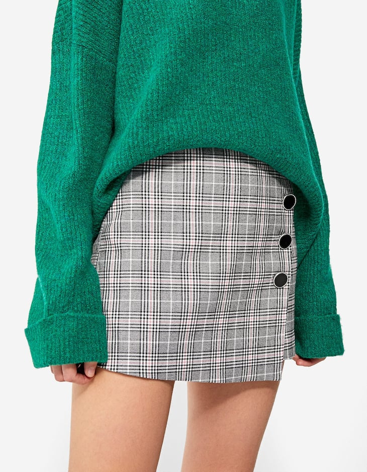 Textured weave skort with buttons