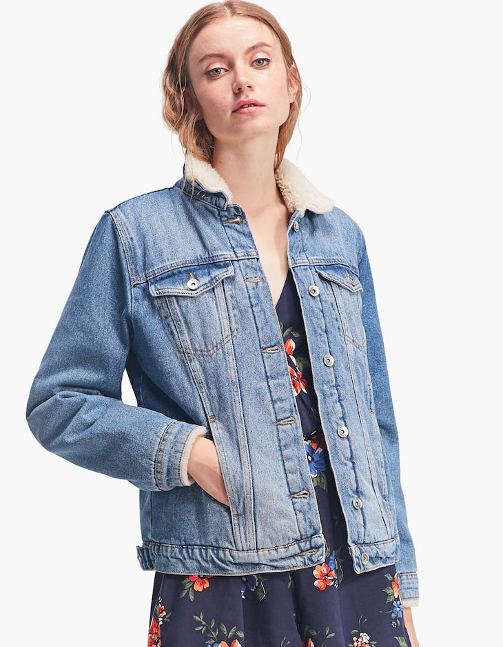 Fleecy denim jacket