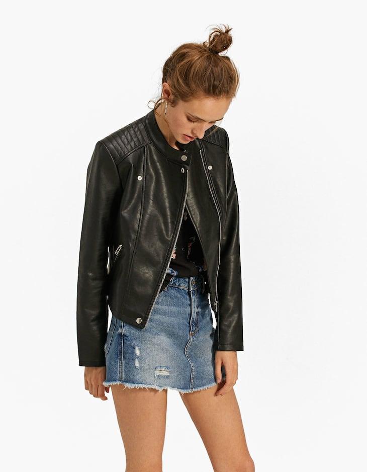 Collarless Biker Jacket