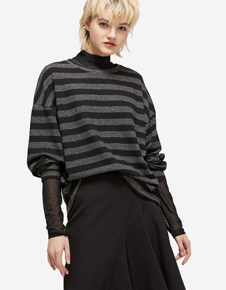 Napped striped T-shirt