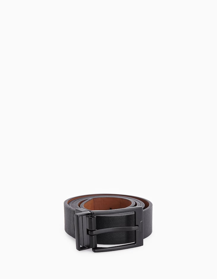 Reversible belt with rubberised buckle