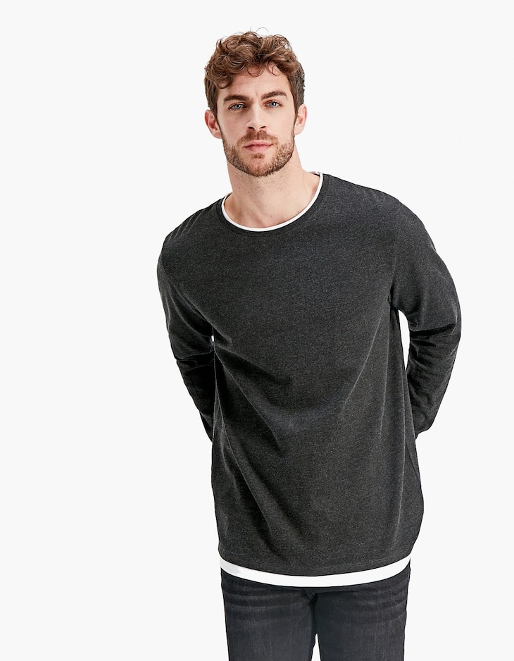 Long sleeve T-shirt with double layer effect