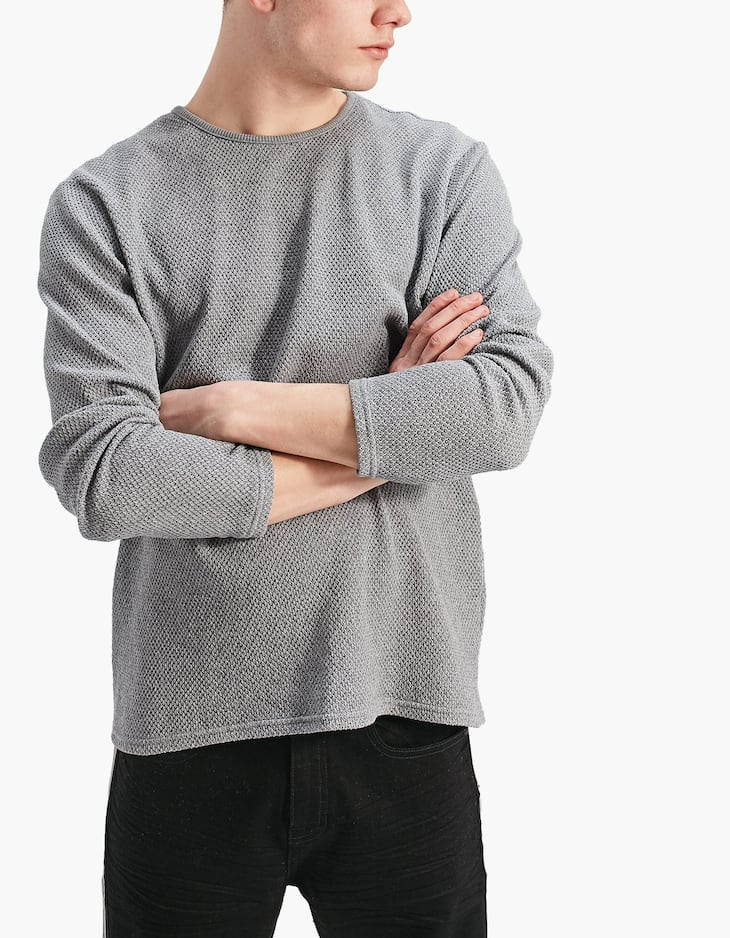 Long sleeve T-shirt with a chunky knit effect