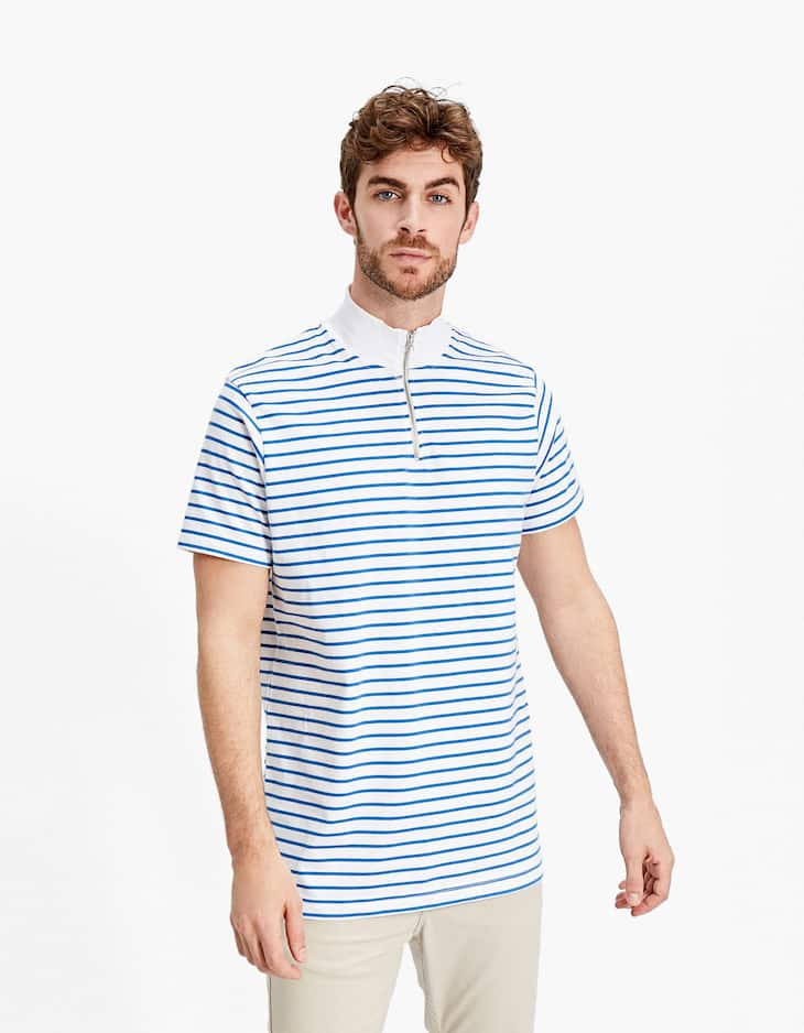 Striped T-shirt with a funnel collar