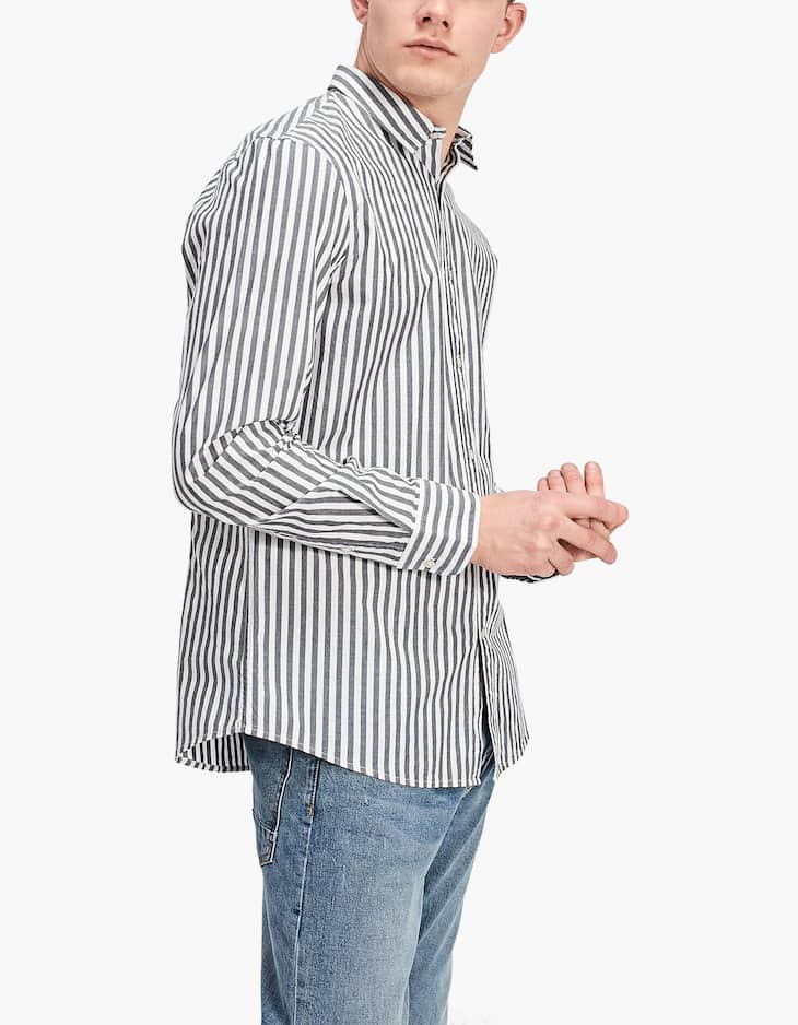 Shirt with grey stripes