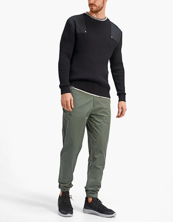 Slim fit technical trousers with multiple pockets