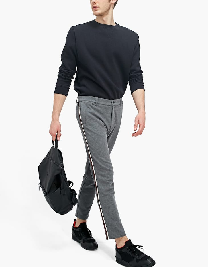 Slim fit Ponte di Roma trousers with side stripes