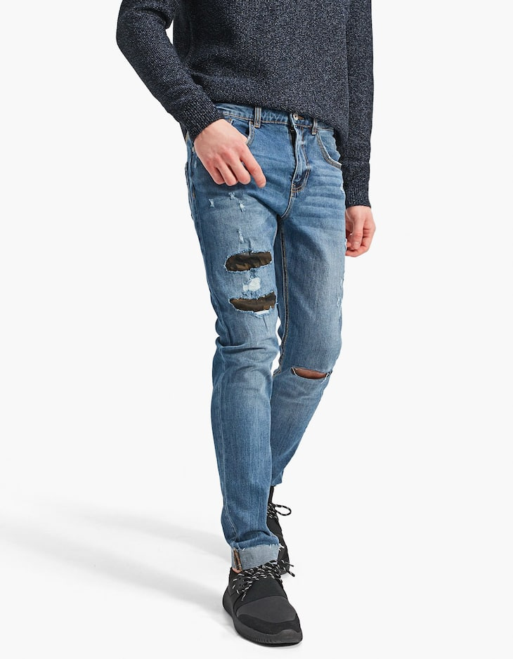 Skinny patched jeans