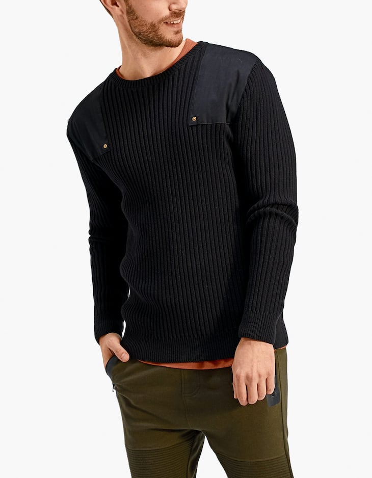 Sweater with flat patch detail