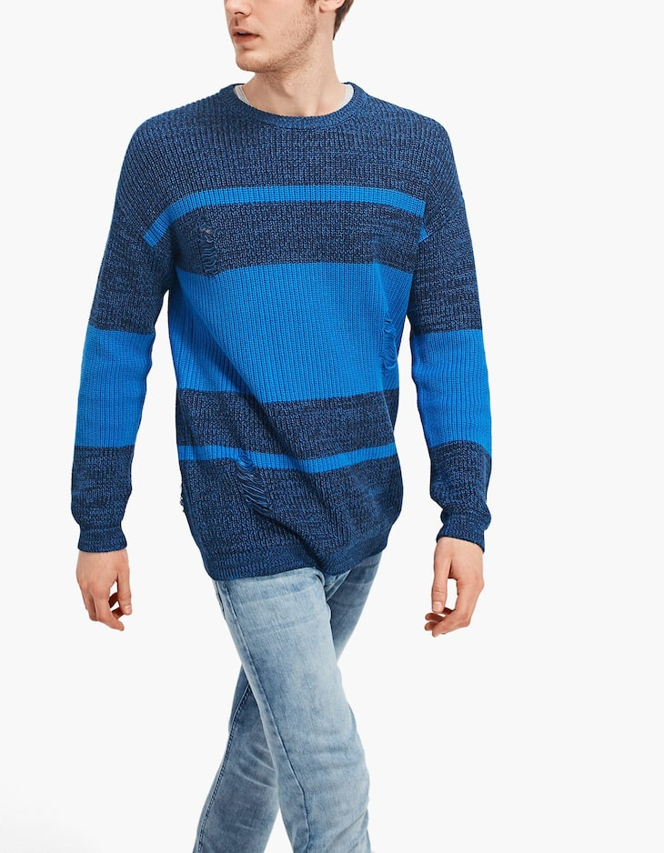 Open knit colour block sweater