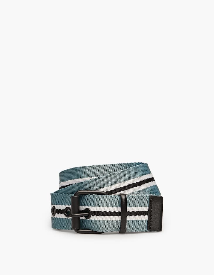 Striped belt with black buckle