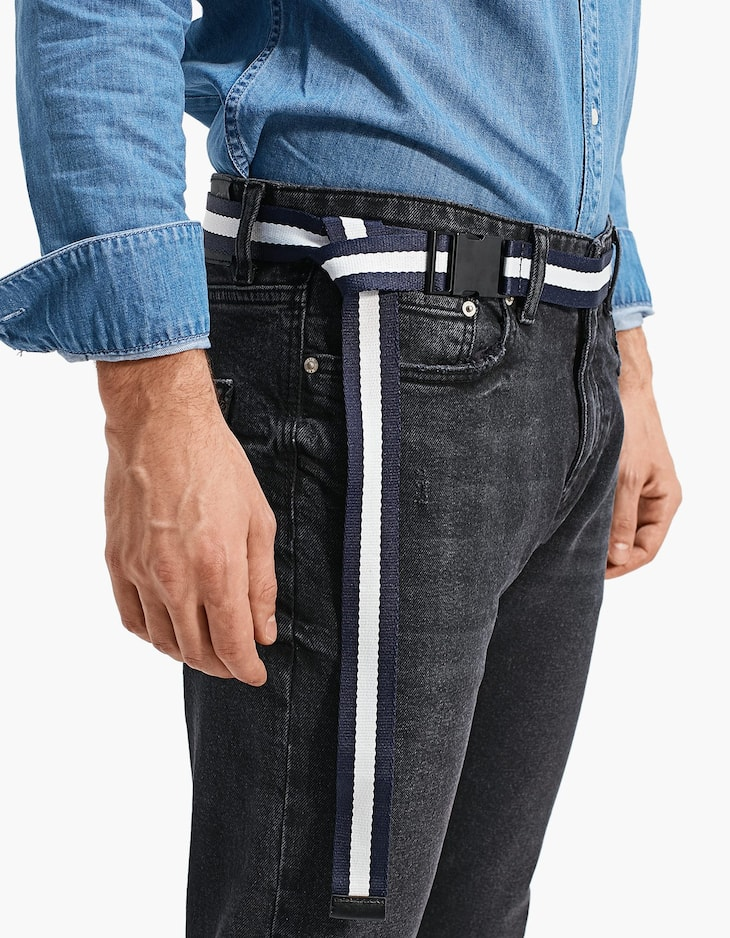 Striped belt with quick-release buckle