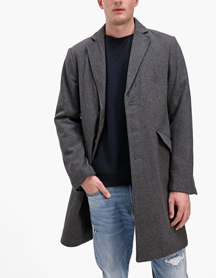 Tricotine coat with collar