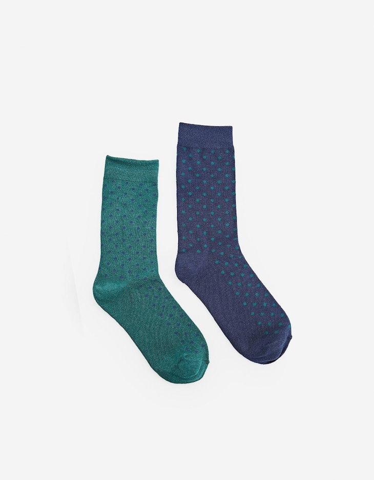 Lot 2 paires de chaussettes tige longue pois
