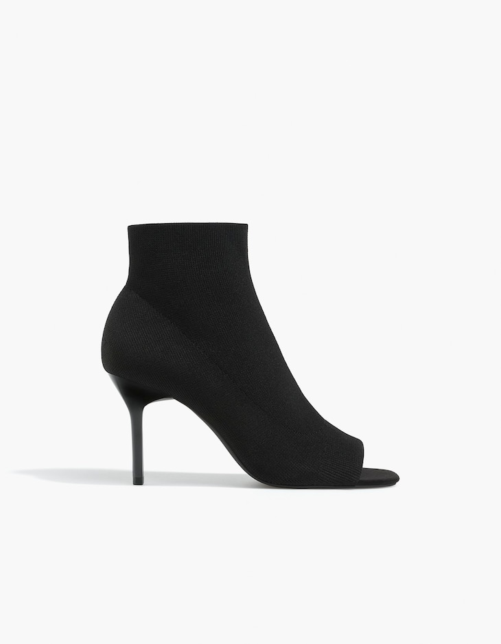 Fabric peep-toe ankle boots