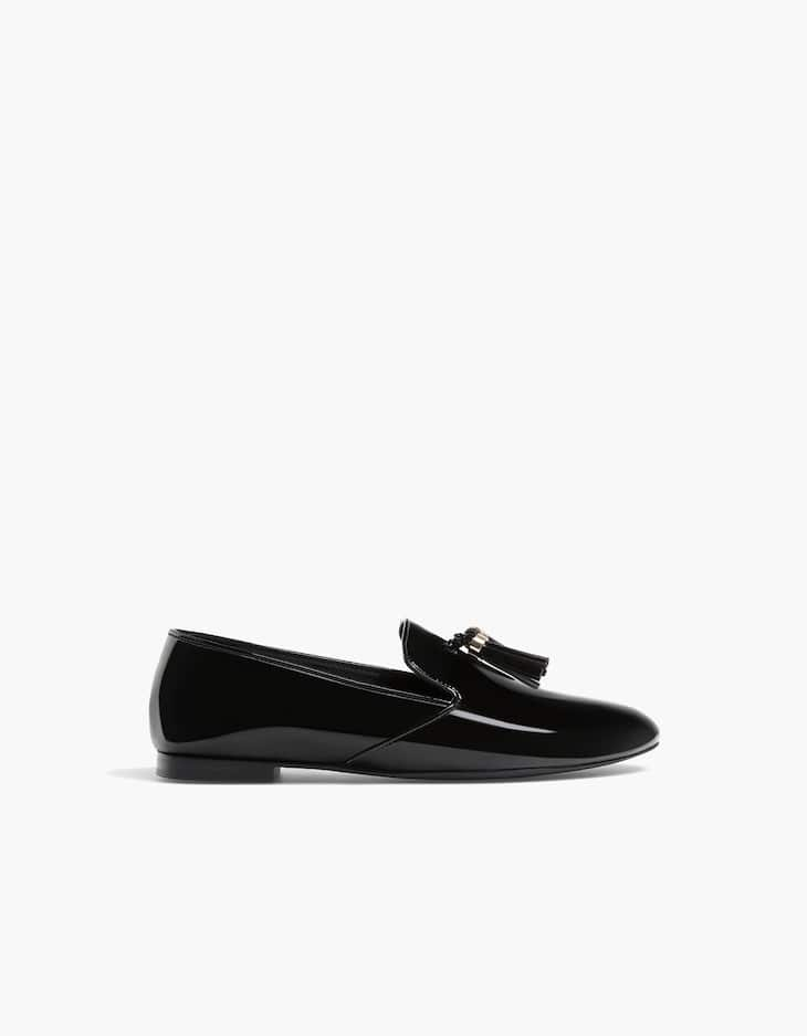 Faux patent loafers with tassels