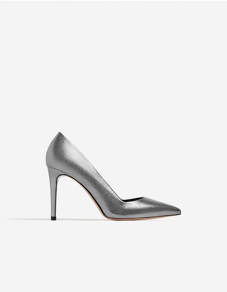 Metallic high heel court shoes