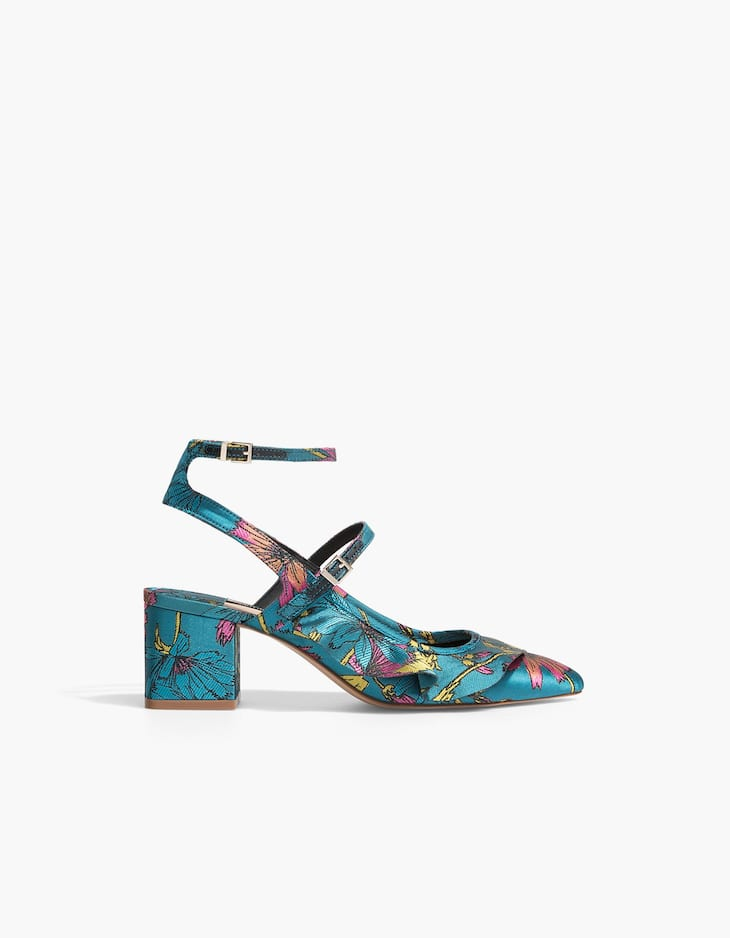 Printed high heel court shoes with ruffle trims