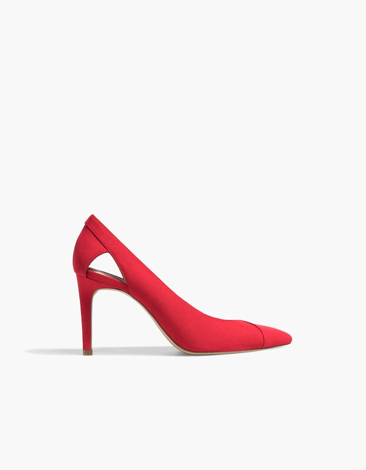 Red cut-out high heel court shoes