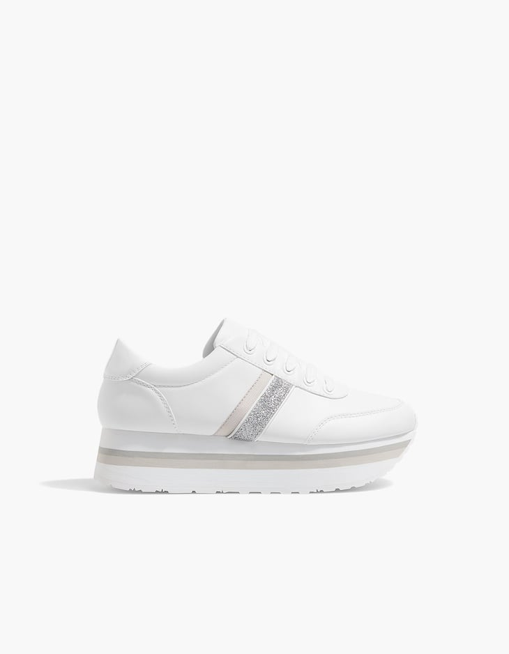 White contrasting platform sneakers