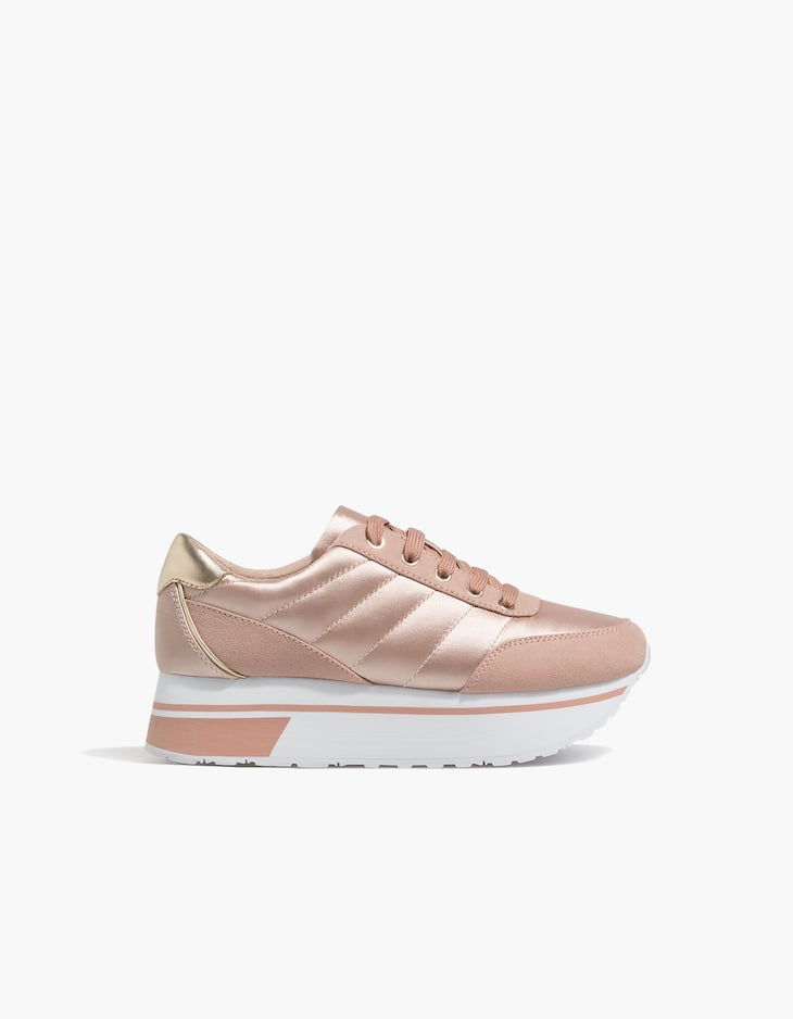 Contrasting satin sneakers