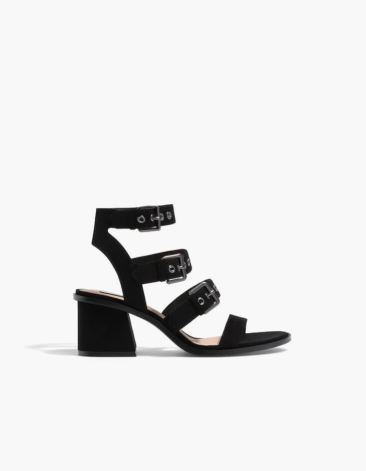 High heel sandals with buckles