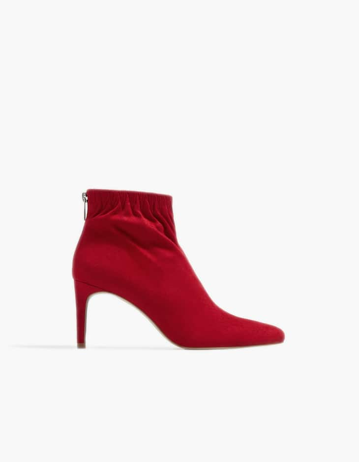 Red high heel ankle boots with gathered detail