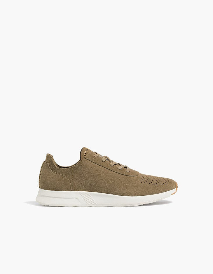 Faux leather lace-up sneakers