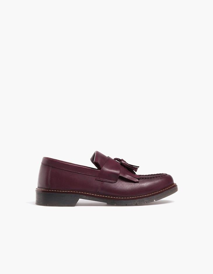 Maroon leather tassel loafers