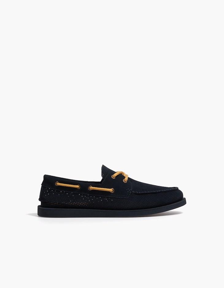 Blue die-cut LEATHER deck shoes