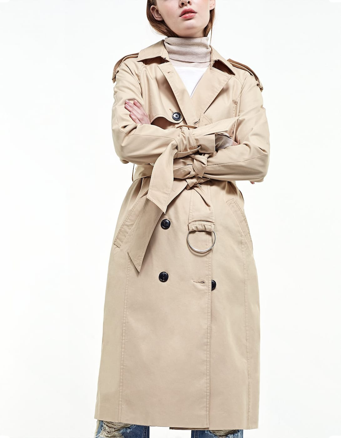 Trench-coat long nœuds manches - Vestes | Stradivarius France