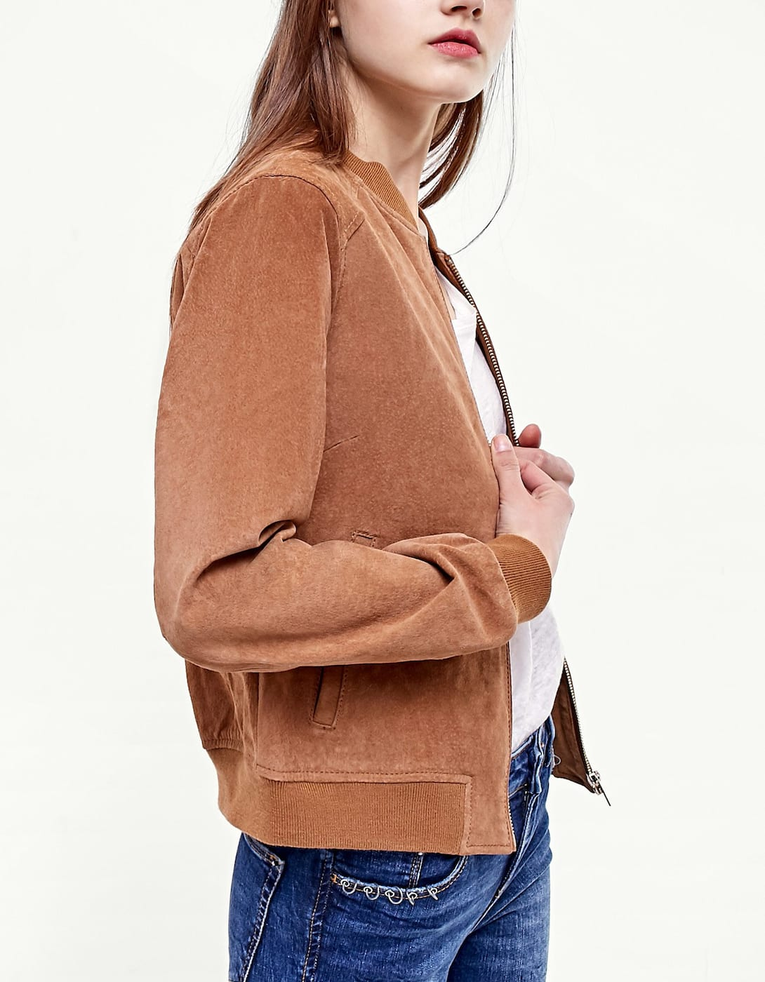 Suede baseball jacket - Jackets | Stradivarius Republic of Ireland