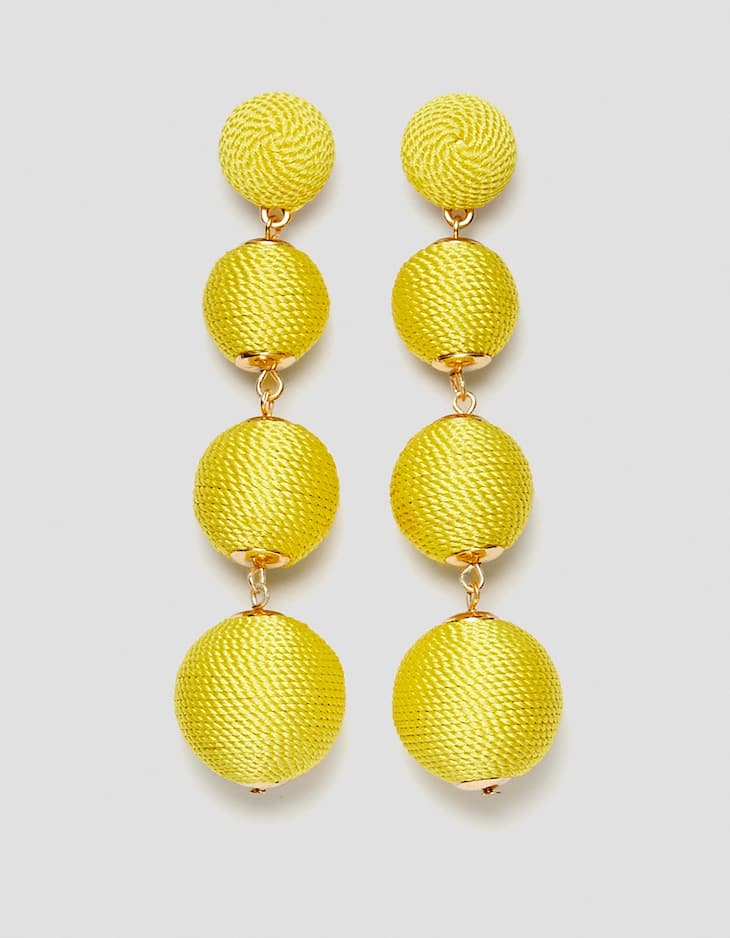 Threaded ball dangle earrings