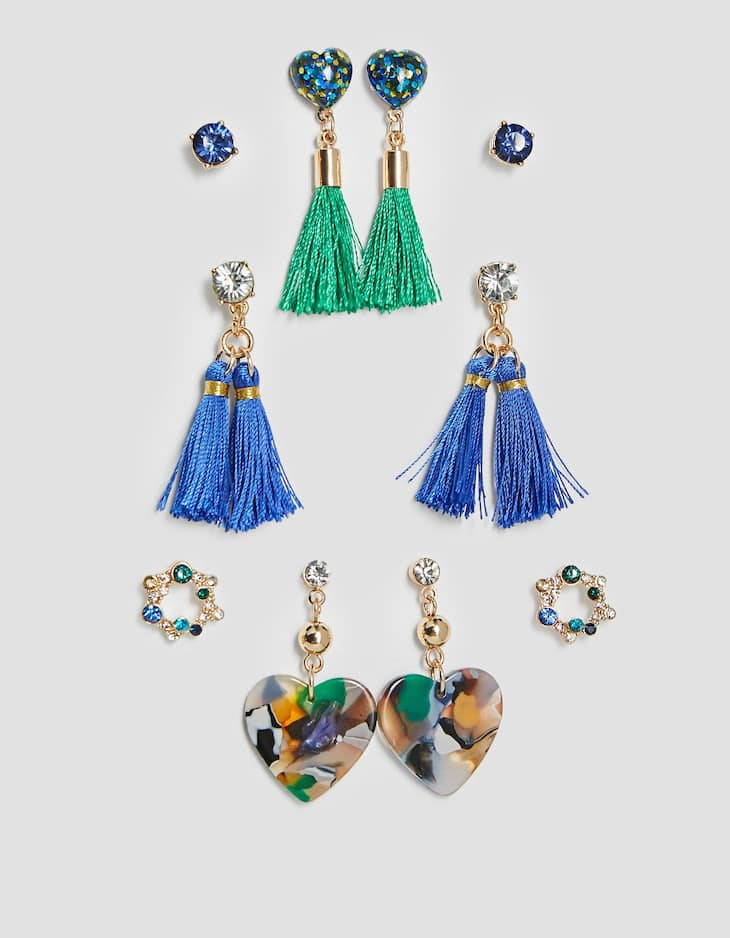 Set of 6 tassel and resin earrings