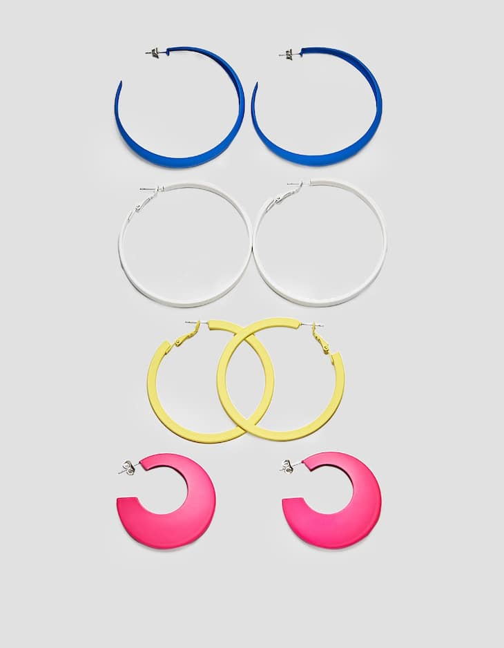Set of 4 rubberised hoop earrings