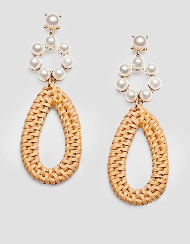 Raffia and pearl bead earrings