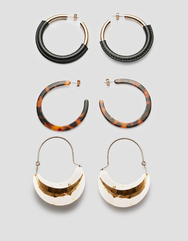 Set of 3 metal and tortoiseshell hoop earrings