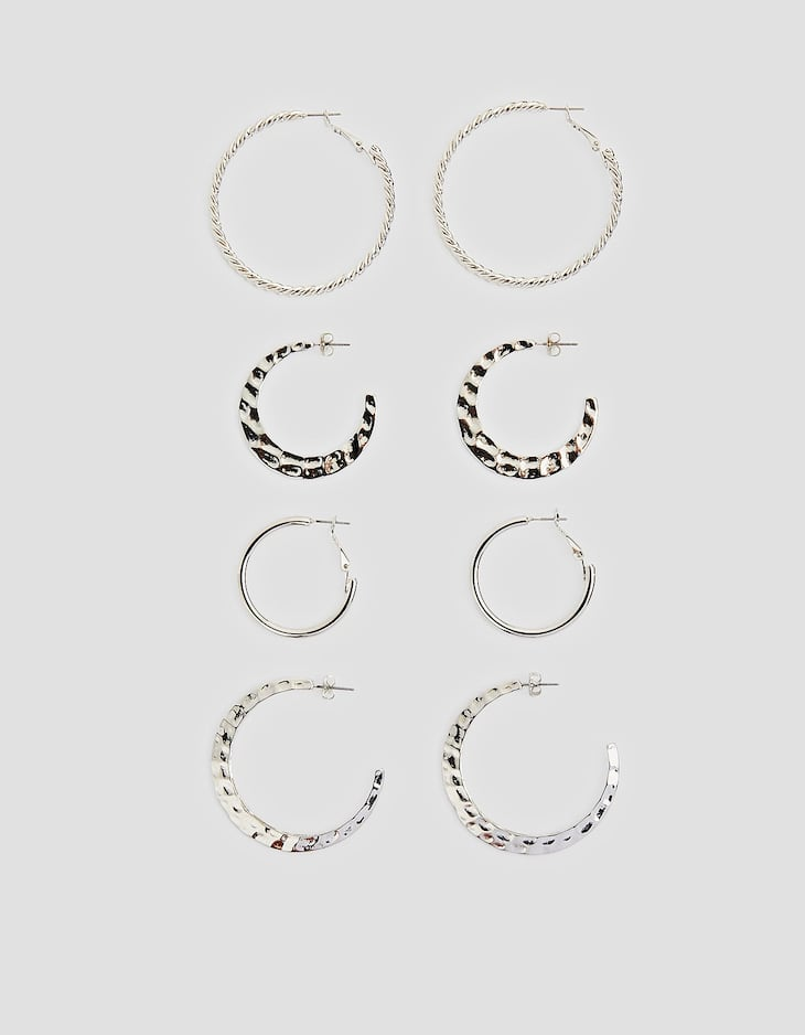 Set of 4 hoop earrings