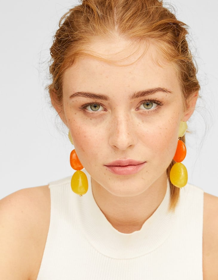 Caramel-coloured stone earrings
