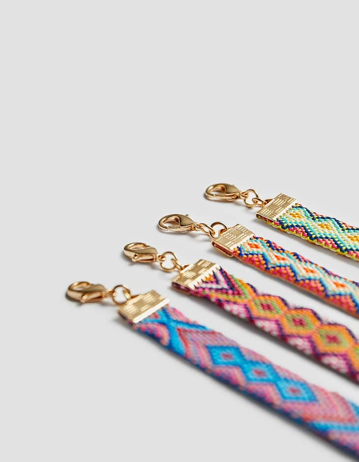 Set of 4 multicoloured braided wristbands