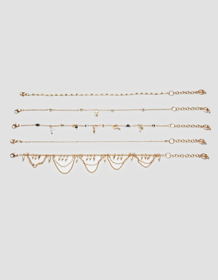 Set of 5 pearl bead anklets