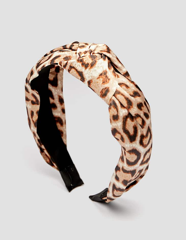 Leopard print rigid headband