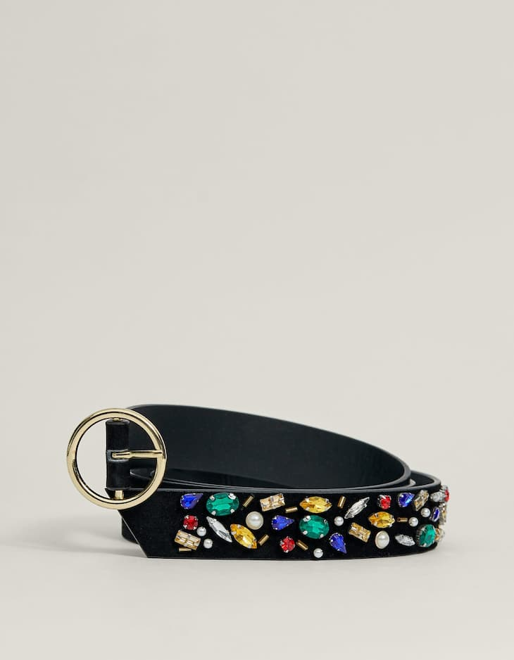 Extra long bejewelled belt